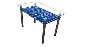 Стеклянный стол Зебра с рисунком на синей полке, фото 2