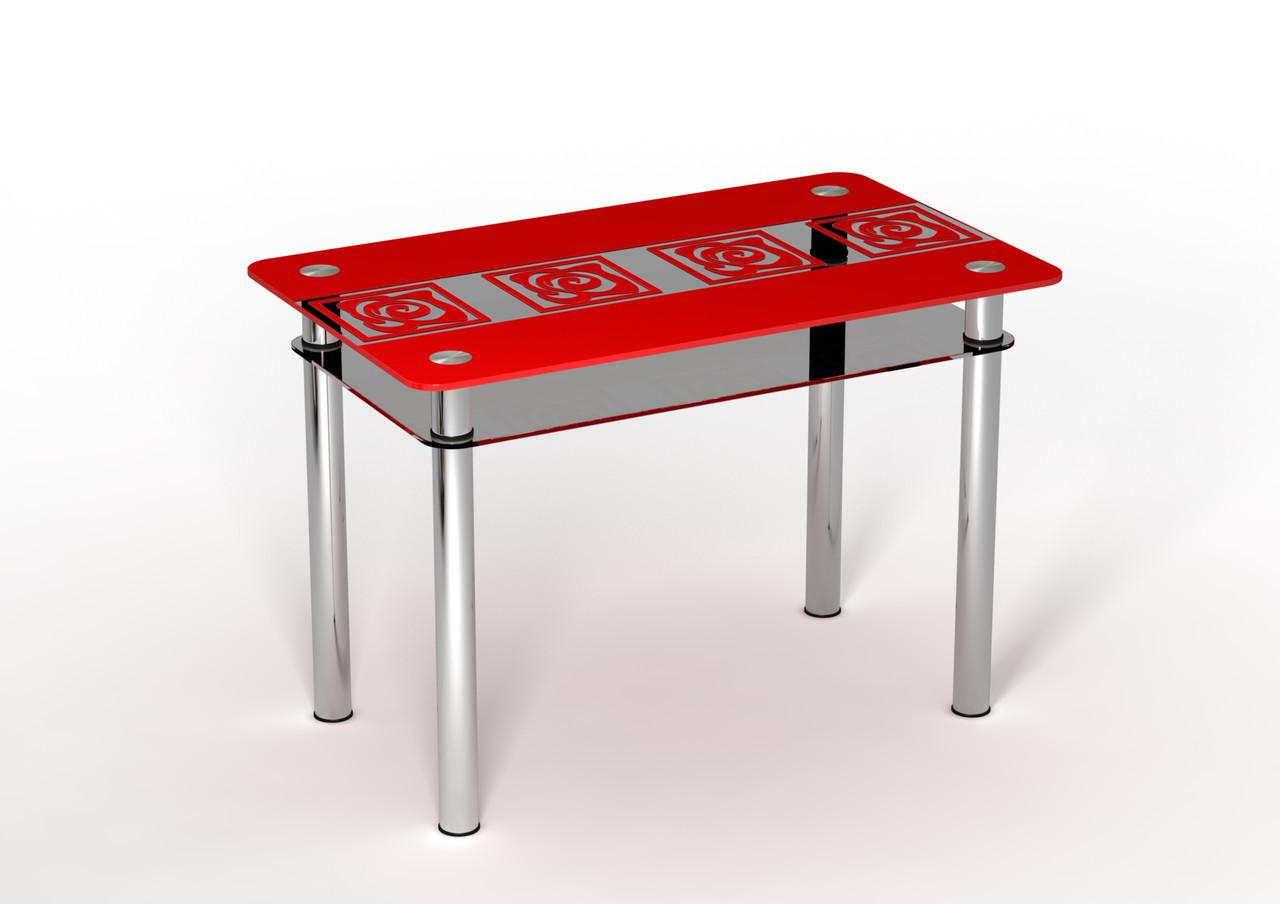 Кухонный стеклянный стол Улитки красные с полкой