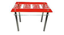 Кухонный стеклянный стол Улитки красные с полкой, фото 2