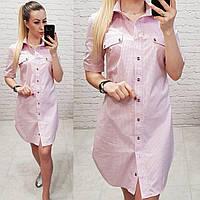Платье-рубашка, модель 827, цвет - розовый, принт - горох