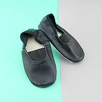 Кожаные черные чешки с стелькой для девочки и мальчика р.14,5-15,5, фото 1