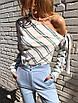 Шифоновая женская блуза в полоску с одним открытым плечом 65rz225, фото 3