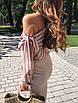 Шифоновая женская блуза в полоску с одним открытым плечом 65rz225, фото 4