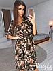 Легкое принтованное платье с треугольным вырезом и юбкой миди 66ty2480, фото 2