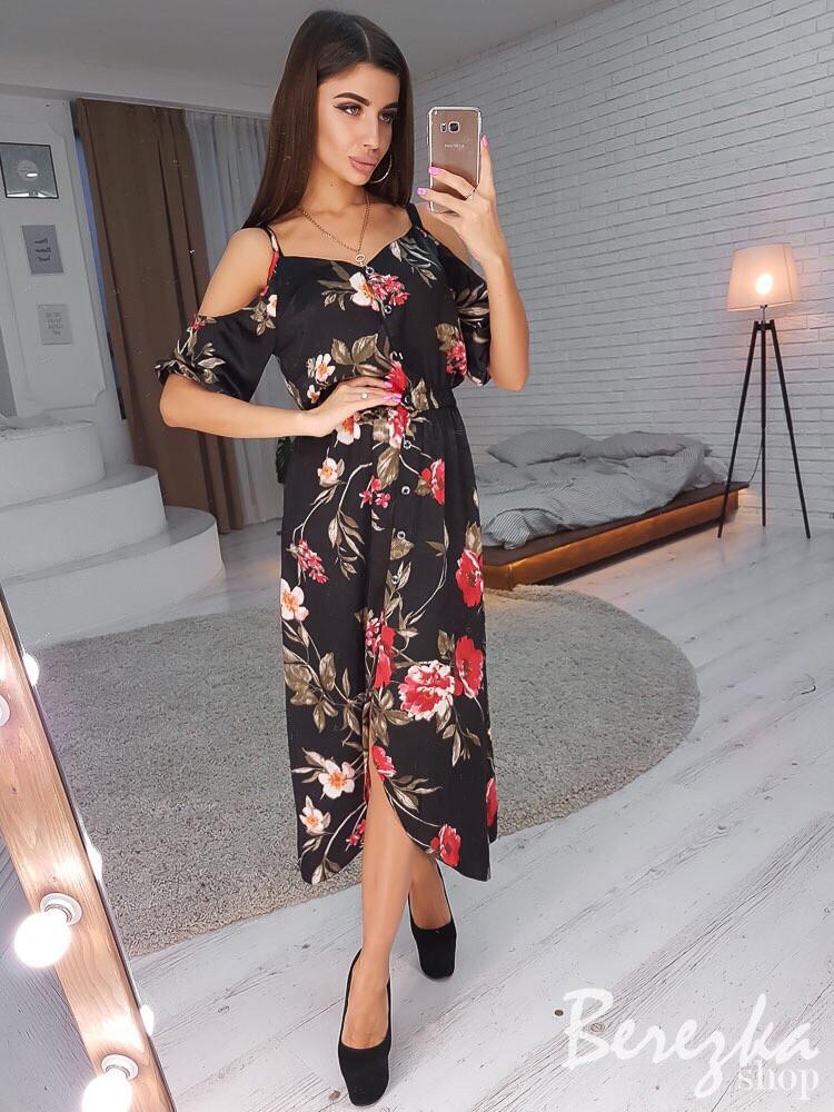 Принтованное платье с открытыми плечами и длиной ниже колена 66ty2482