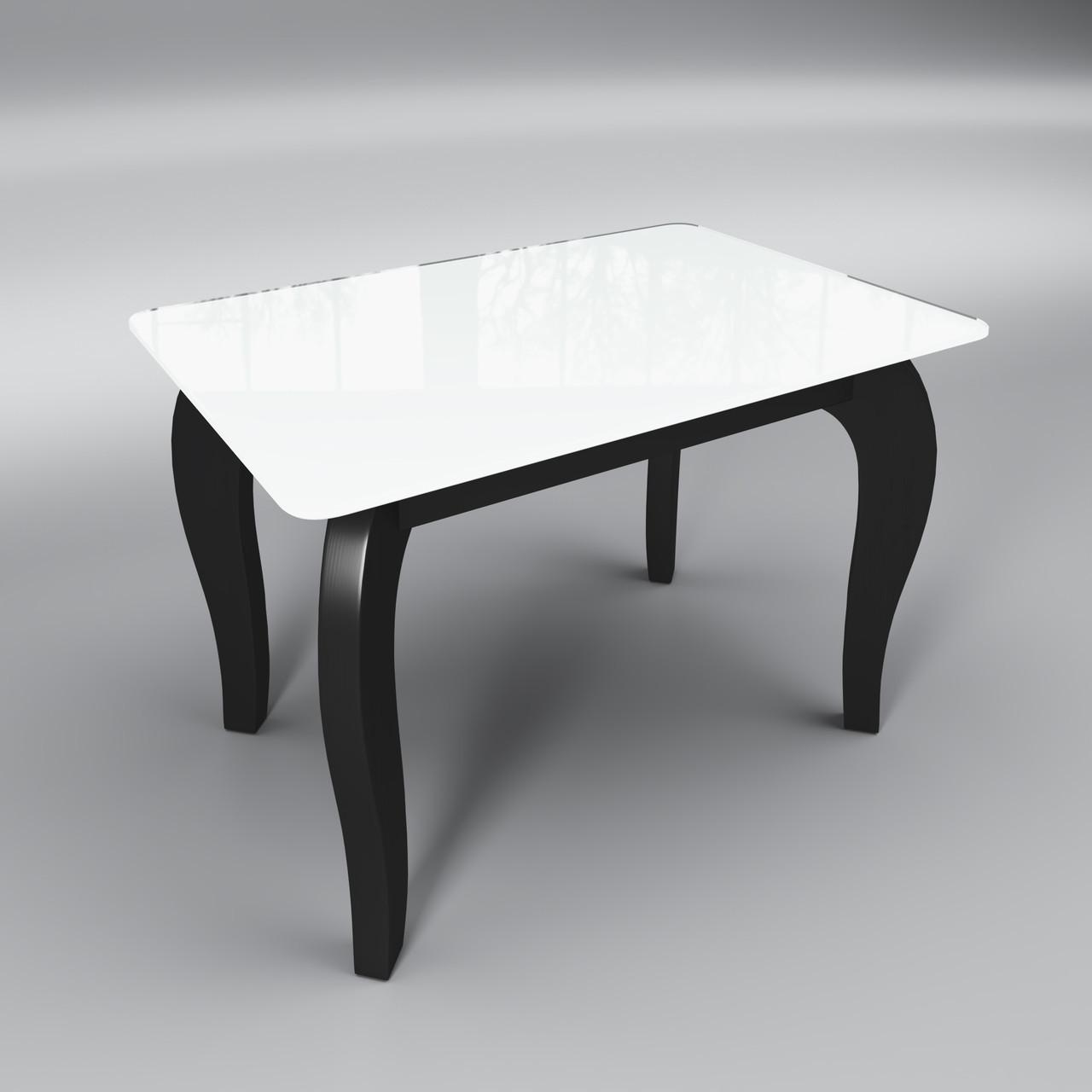 Журнальный стеклянный стол Император мини бело-черный