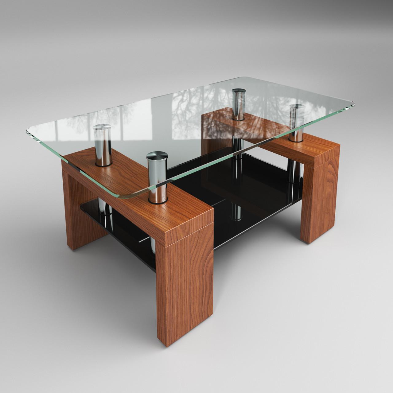 Журнальный стол Престиж мини стеклянный черно-коричневый