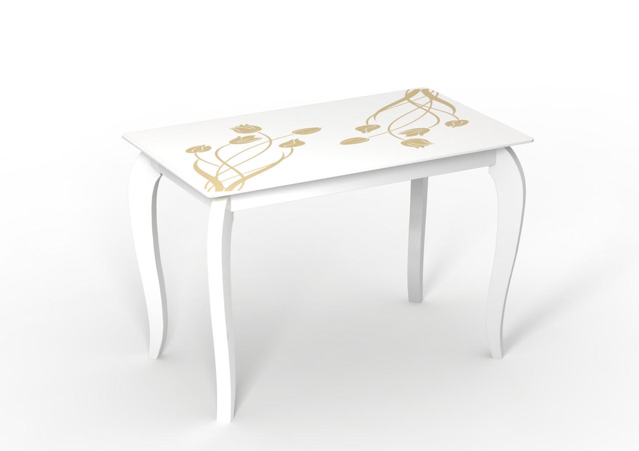 Белый стол стеклянный Император Суфле