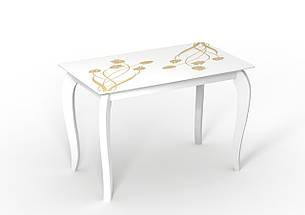 Белый стол стеклянный Император Суфле, фото 2