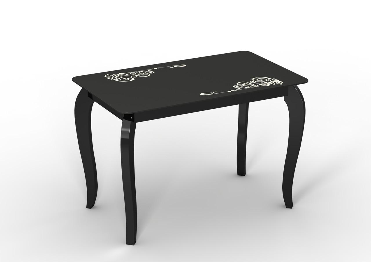 Черный стол стеклянный на деревянных ногах Император классик