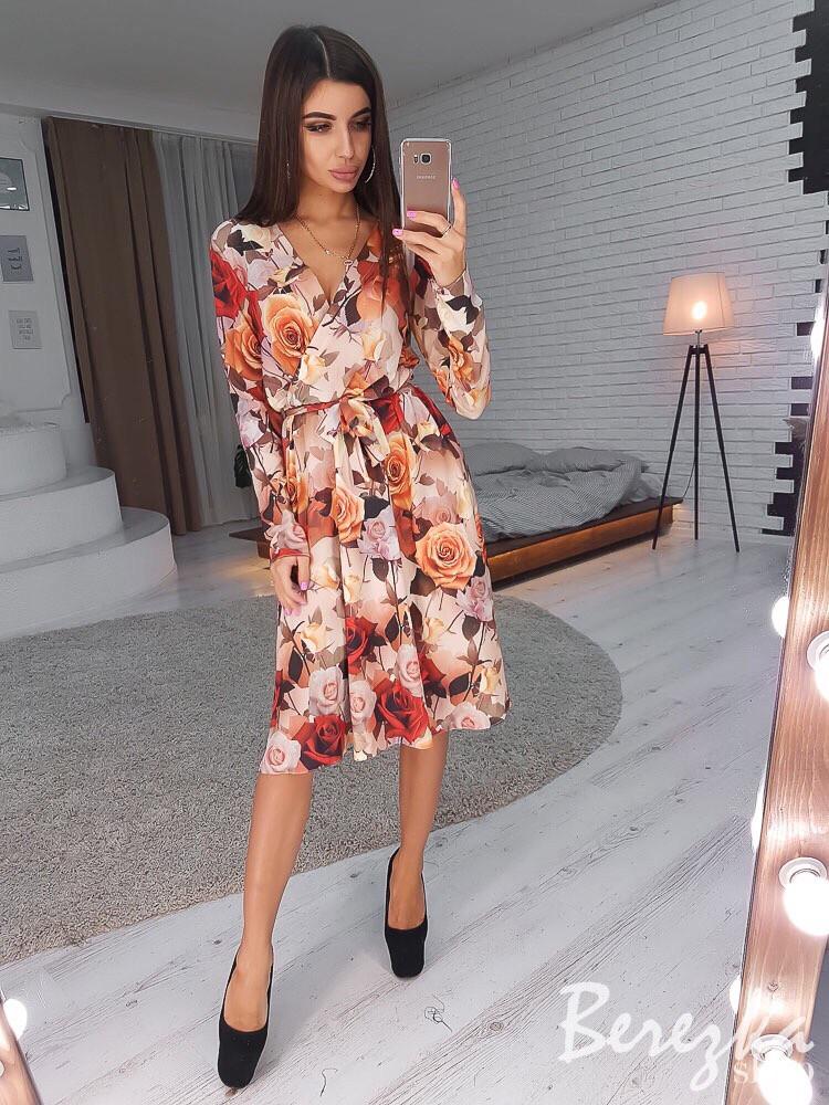 Принтованное летнее платье на запах с длинным рукавом 66ty2494