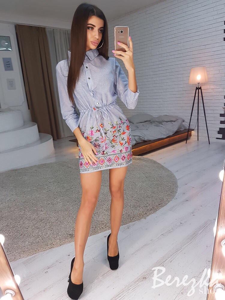 Коттоновое платье - рубашка с вышивкой 66ty2495