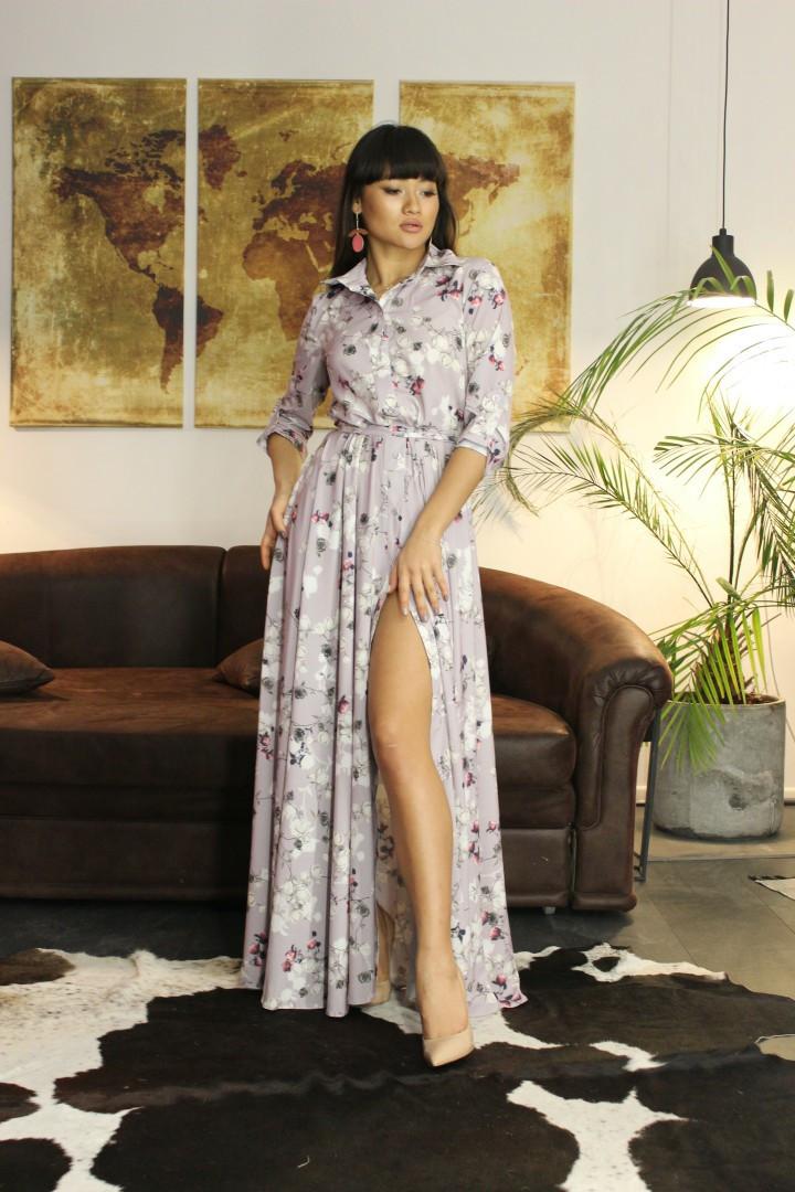 Длинное платье - рубашка на пуговицах и с поясом 34ty2496