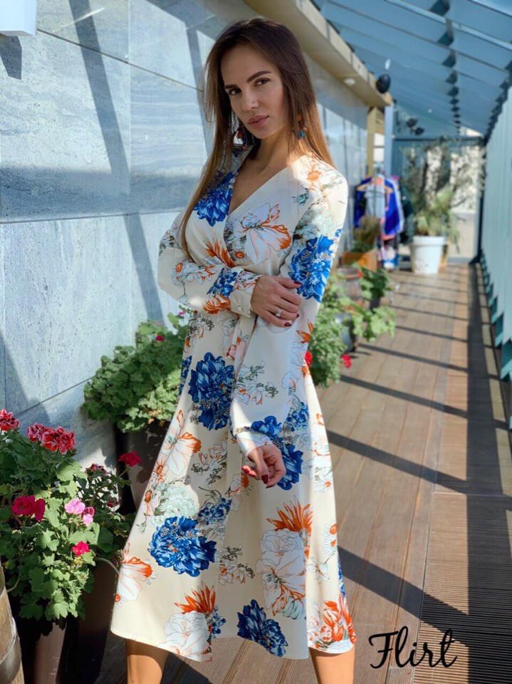 Шелковое платье миди в растительный принт 36ty2502