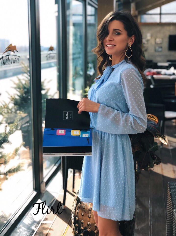 Шифоновое платье в горошек с бантом 36ty2505