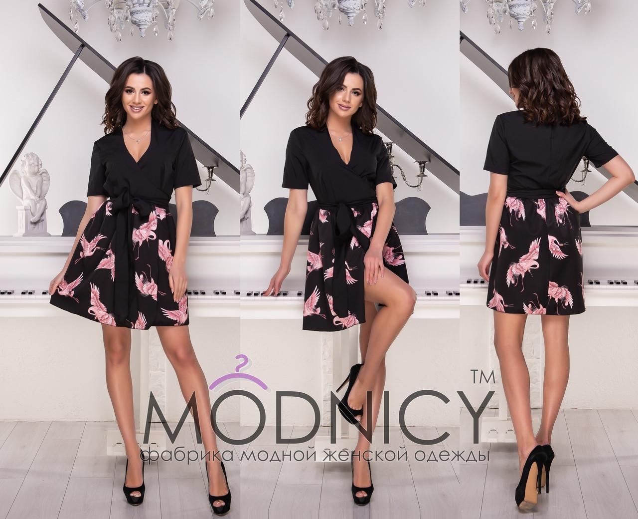 Летнее платье на запах с цветочной юбкой 53ty2511