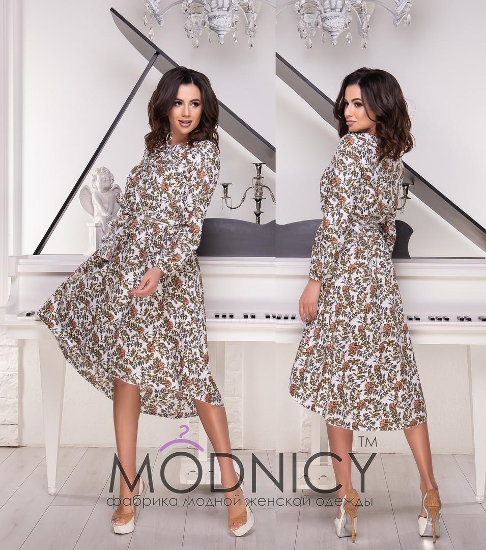 Принтованное платье асимметричное с поясом 53ty2512