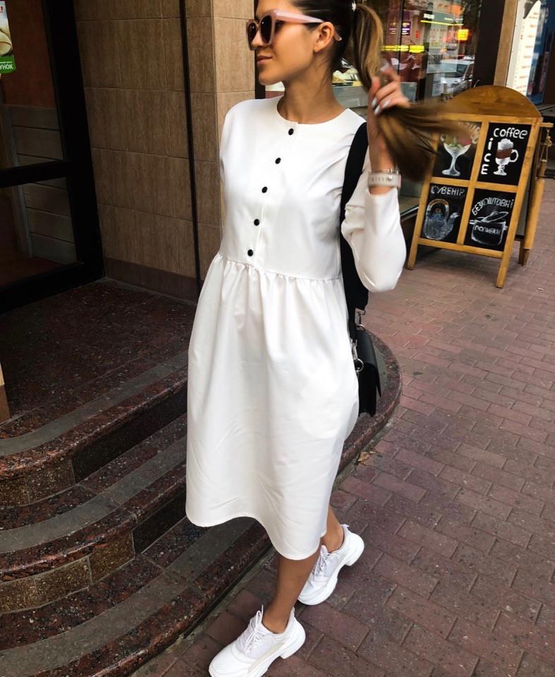 Коттоновое платье с пышной юбкой миди 71ty2515