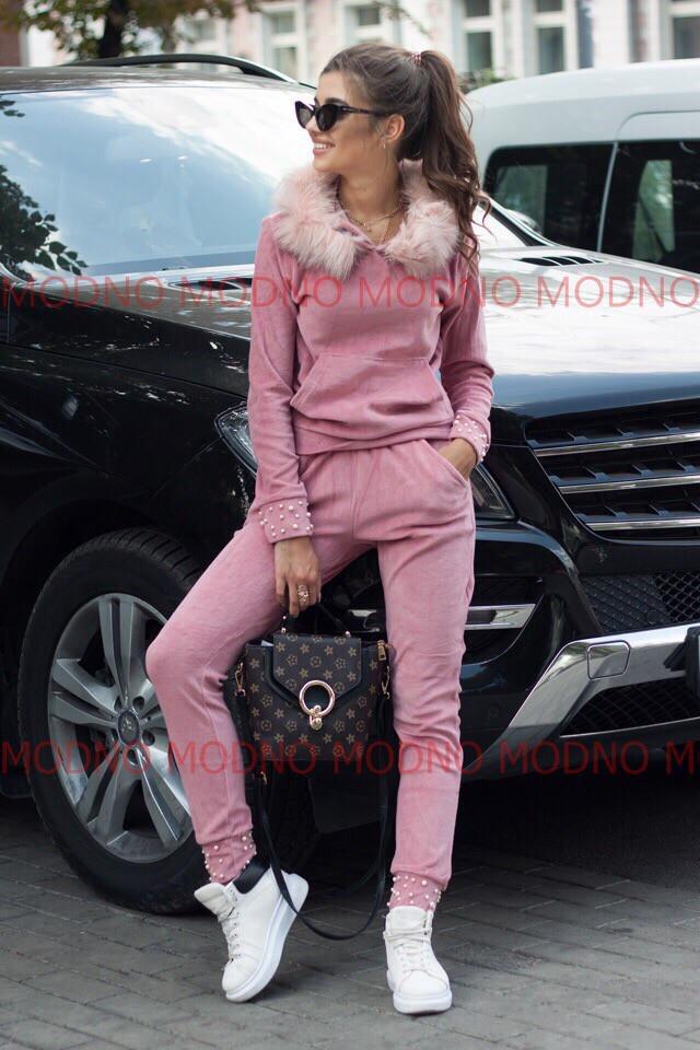 e7a5665f Велюровый женский спорт костюм с мехом на капюшоне 71rt593 - Cardy интернет  магазин одежды в Харькове