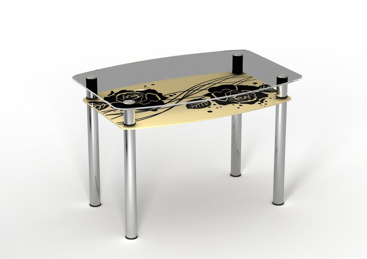 Кухонный стеклянный стол Камелия с полкой