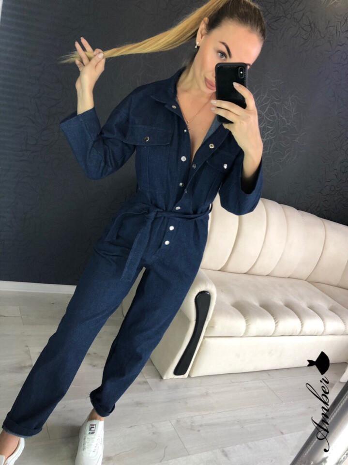 Женский джинсовый комбинезон на пуговицах и с поясом 8st1032