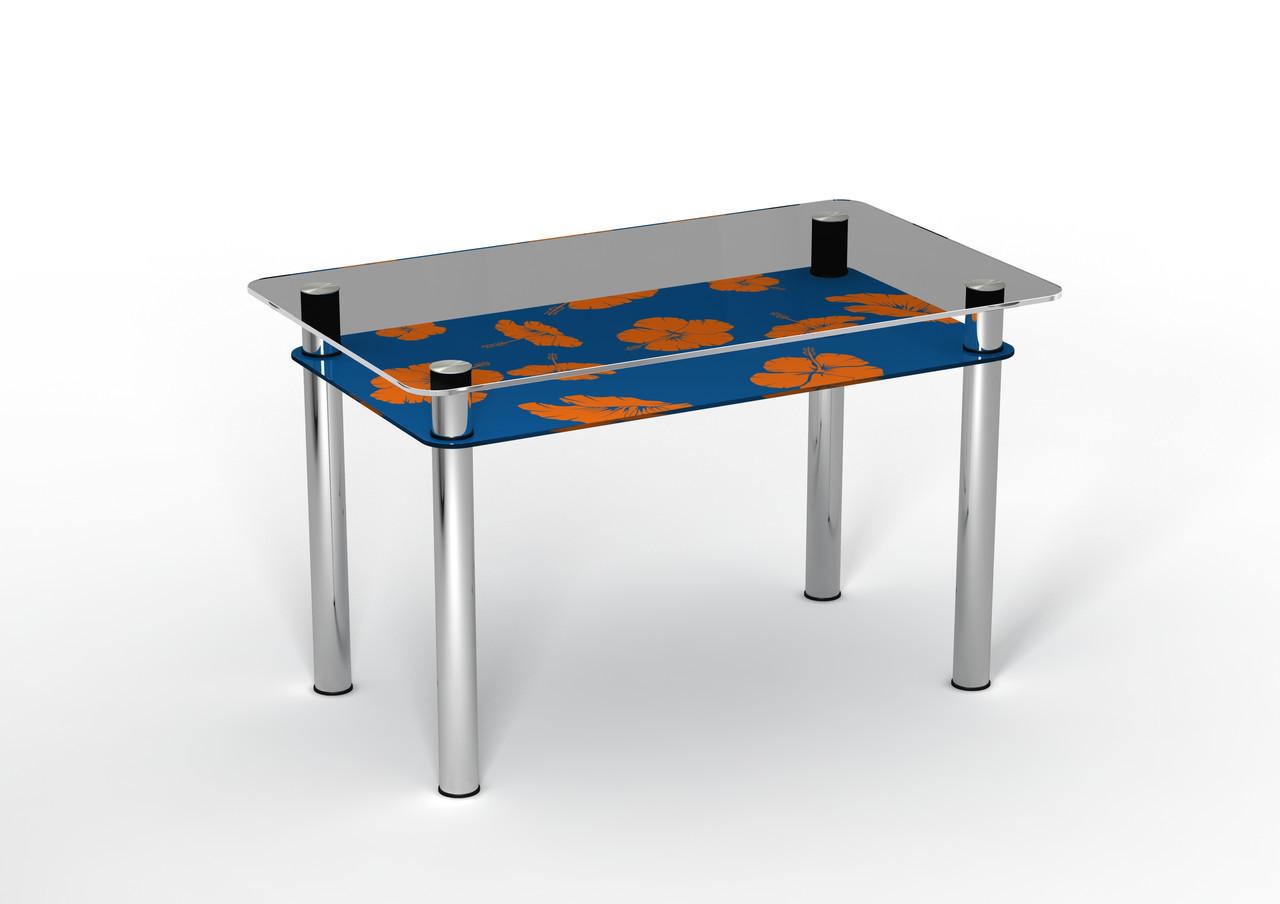 Кухонный стол стеклянный Позитив с синей полкой и рисунком