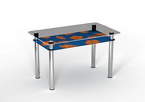 Кухонный стол стеклянный Позитив с синей полкой и рисунком, фото 2