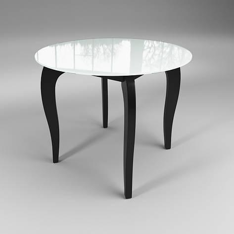 Стол стеклянный Император Круг Контраст бело-черный, фото 2