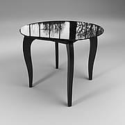 Стол стеклянный Император Круг черный (диаметр - 0,90 м.)