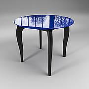 Стол стеклянный Император Круг сине-черный (диаметр - 0,90 м.)