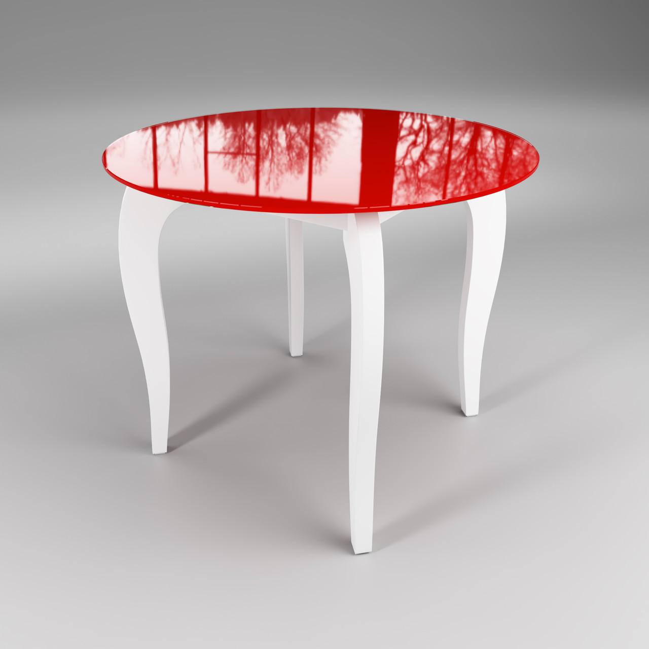 Стол стеклянный Император Круг красно-белый