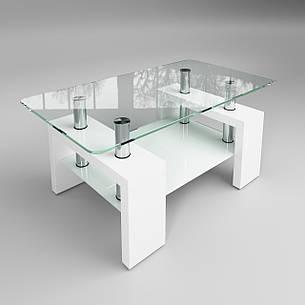 Стеклянный журнальный стол Престиж мини белый, фото 2