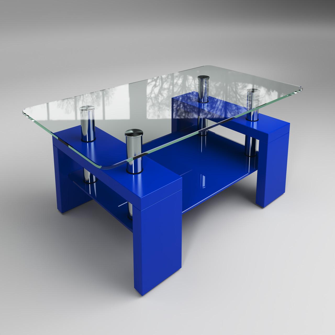 Журнальный стол Престиж мини стеклянный синий с полкой