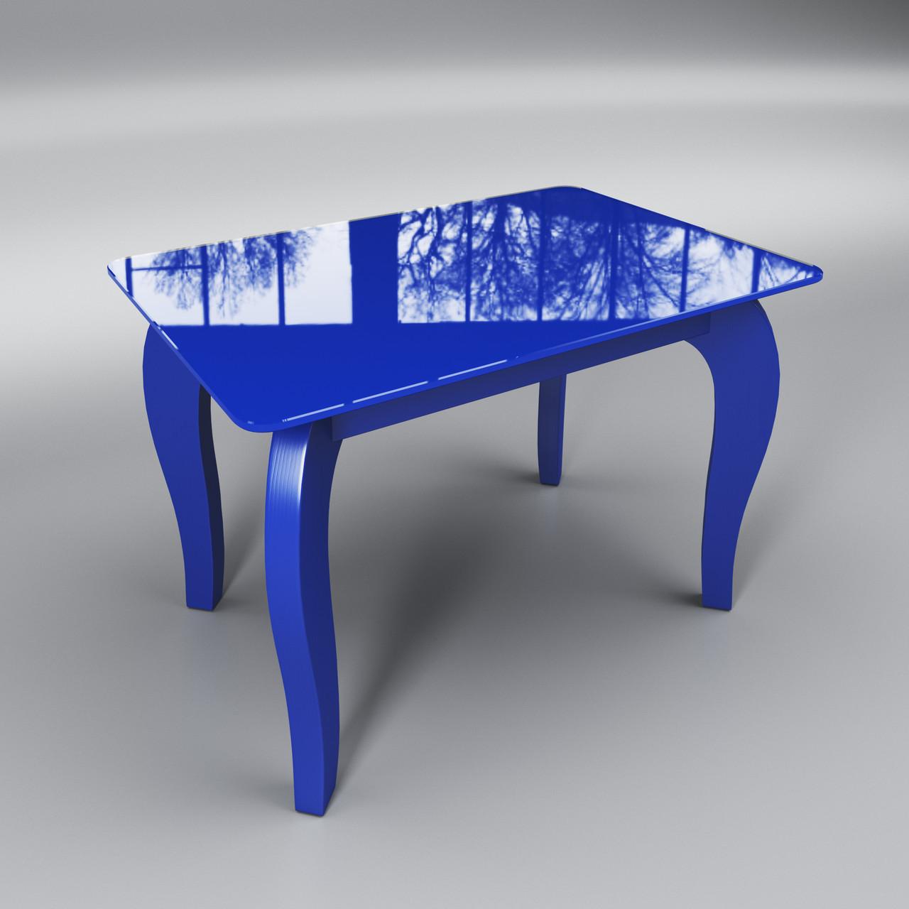 Журнальный стеклянный стол Император мини синий