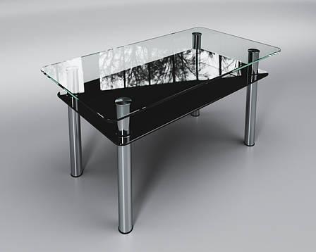 Журнальный стеклянный стол Вега с черной полкой, фото 2