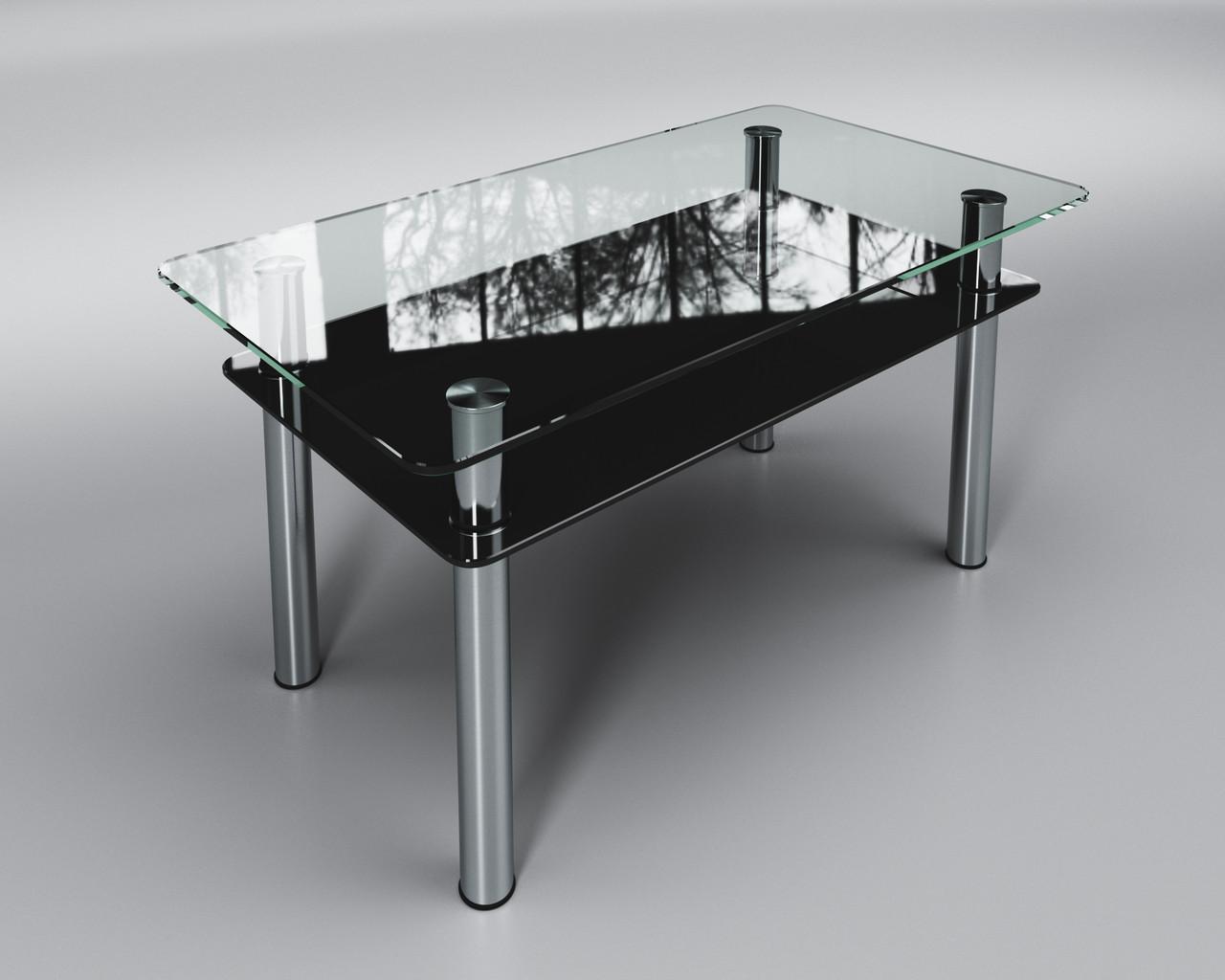 Журнальный стеклянный стол Вега с черной полкой
