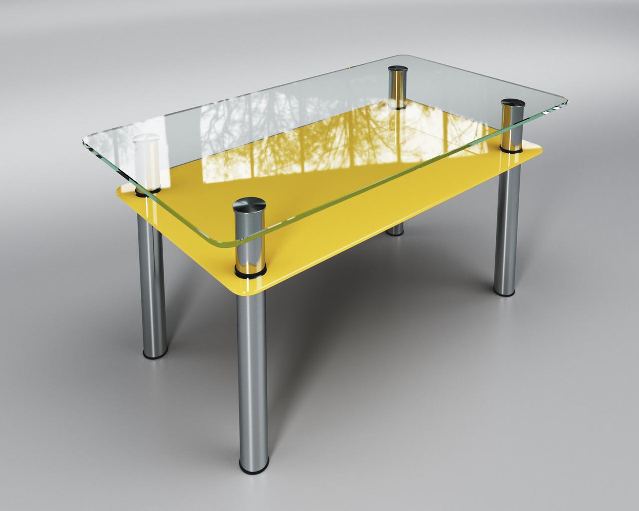 Журнальный стеклянный стол Вега с желтой полкой