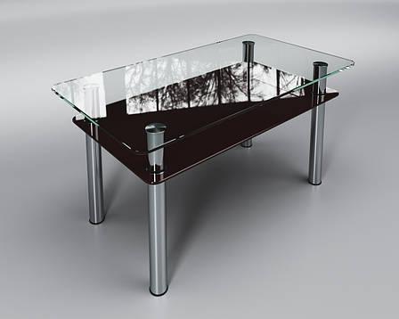 Журнальный стеклянный стол Вега с полкой коричневой, фото 2