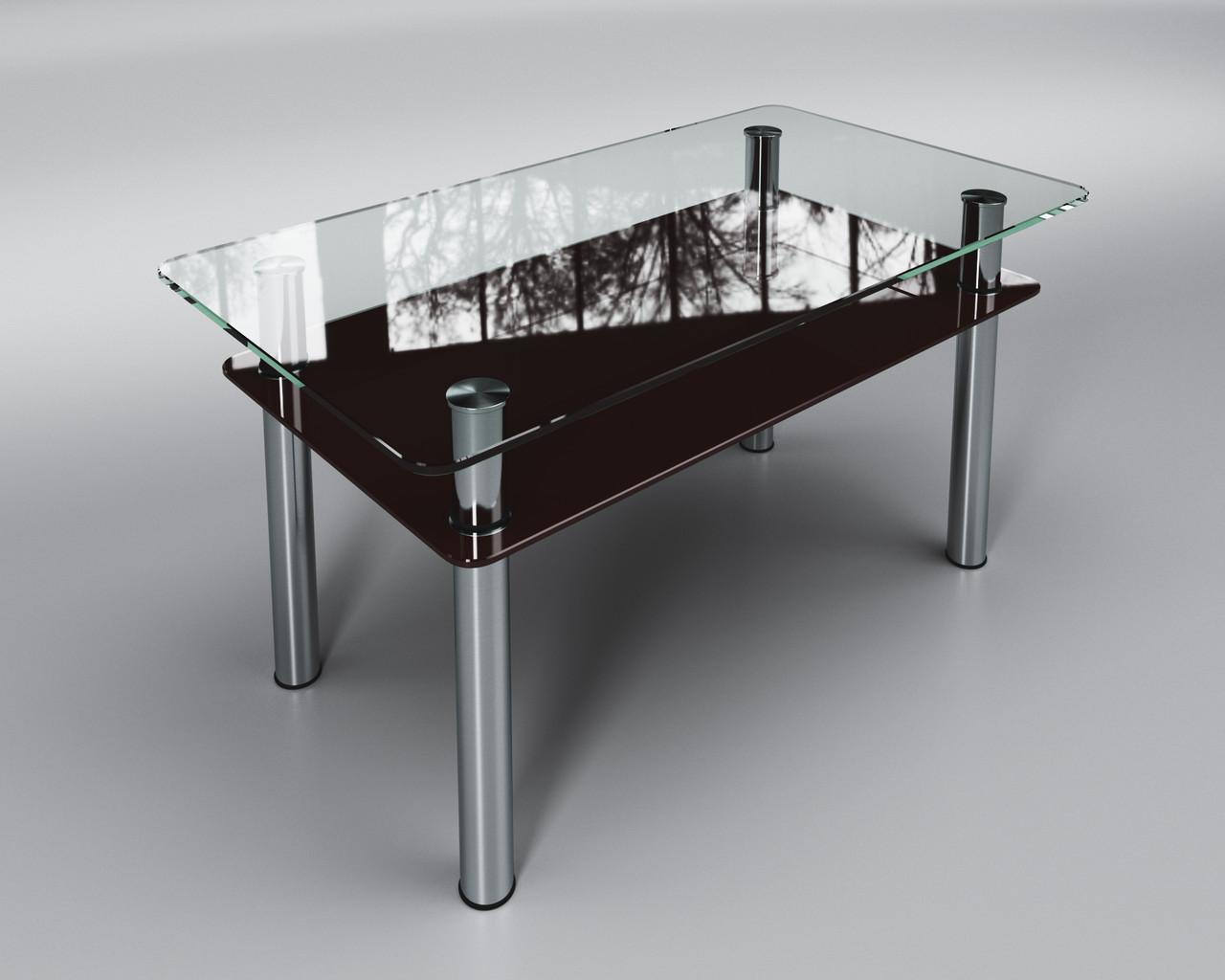 Журнальный стеклянный стол Вега с полкой коричневой
