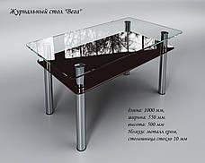 Стеклянный стол Вега с полкой (журнальный) коричневый, фото 2