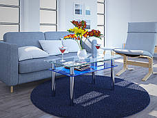Стеклянный стол Вега с полкой (журнальный) синий, фото 3