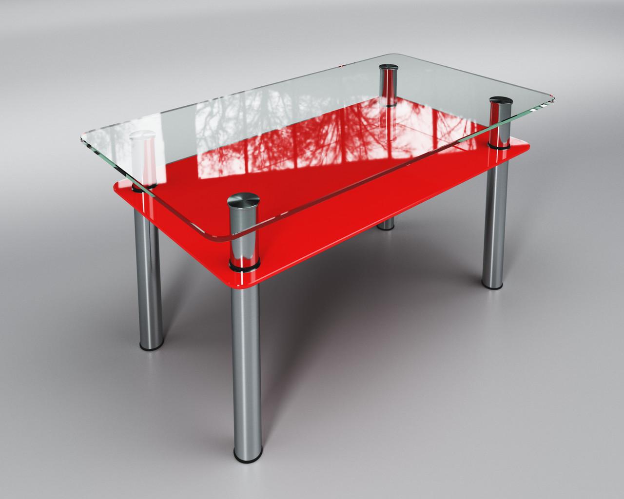 Журнальный стеклянный стол Вега с полкой красной