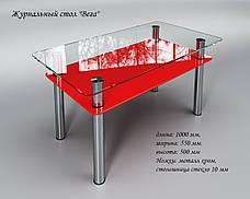 Журнальный стеклянный стол Вега с полкой красной, фото 2