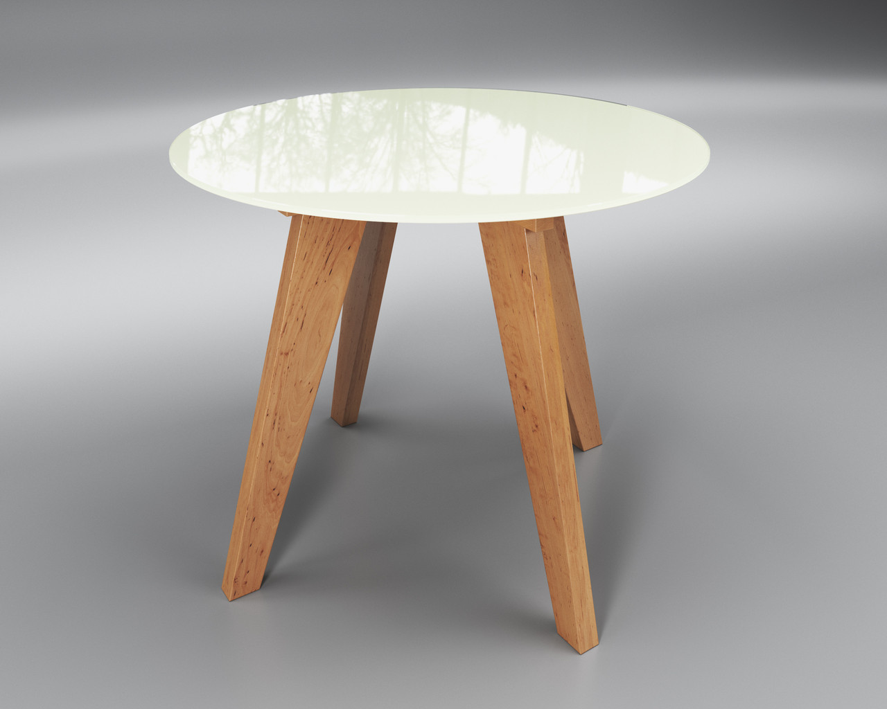 Стол стеклянный Леонардо Круг белый / ольха (диаметр - 0,90 м.)