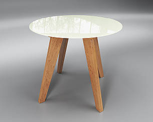 Стол стеклянный Леонардо Круг белый / ольха (диаметр - 0,90 м.), фото 2