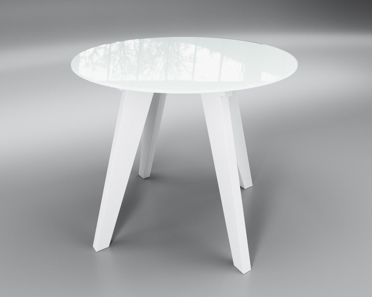Белый стол стеклянный Леонардо Круг круглый