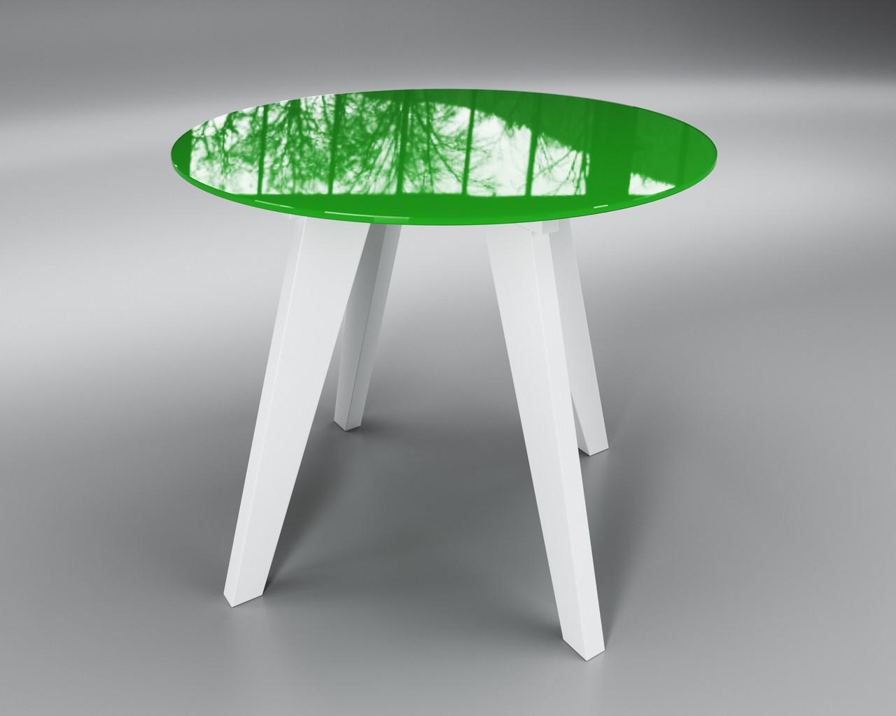 Стіл скляний Леонардо Коло зелено-білий (діаметр - 0,90 м.)