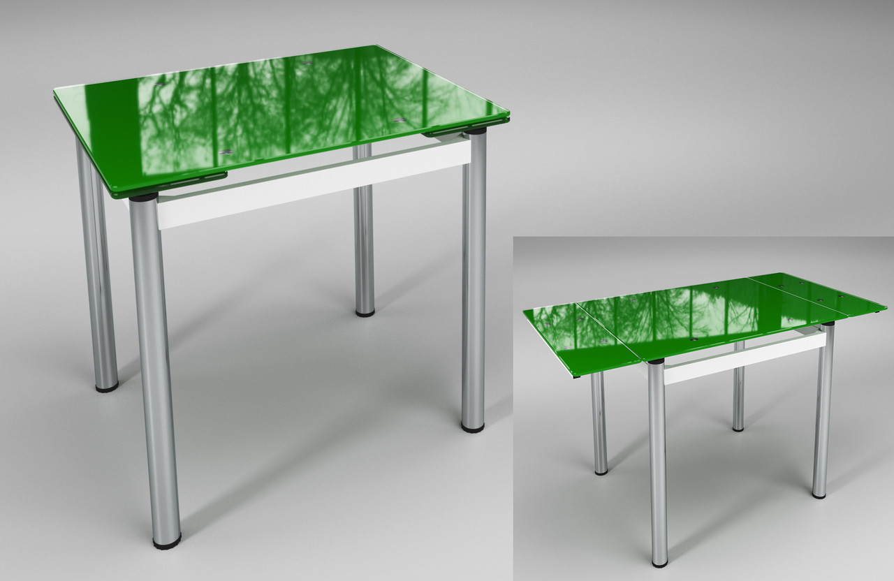 Обеденный зелёный стеклянный раскладной стол Ритм