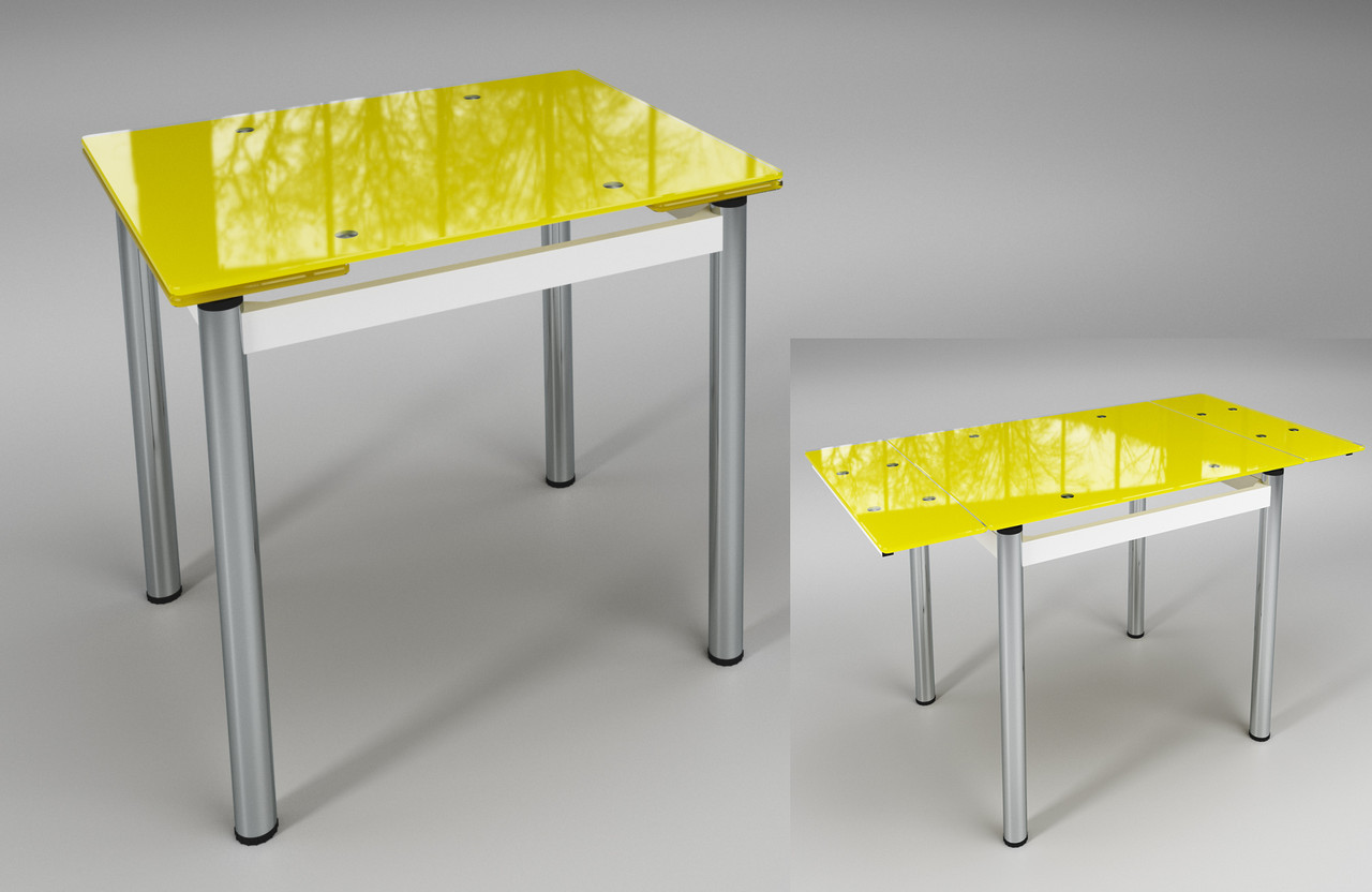 Жёлтый стеклянный раскладной стол Ритм на хромированных ногах