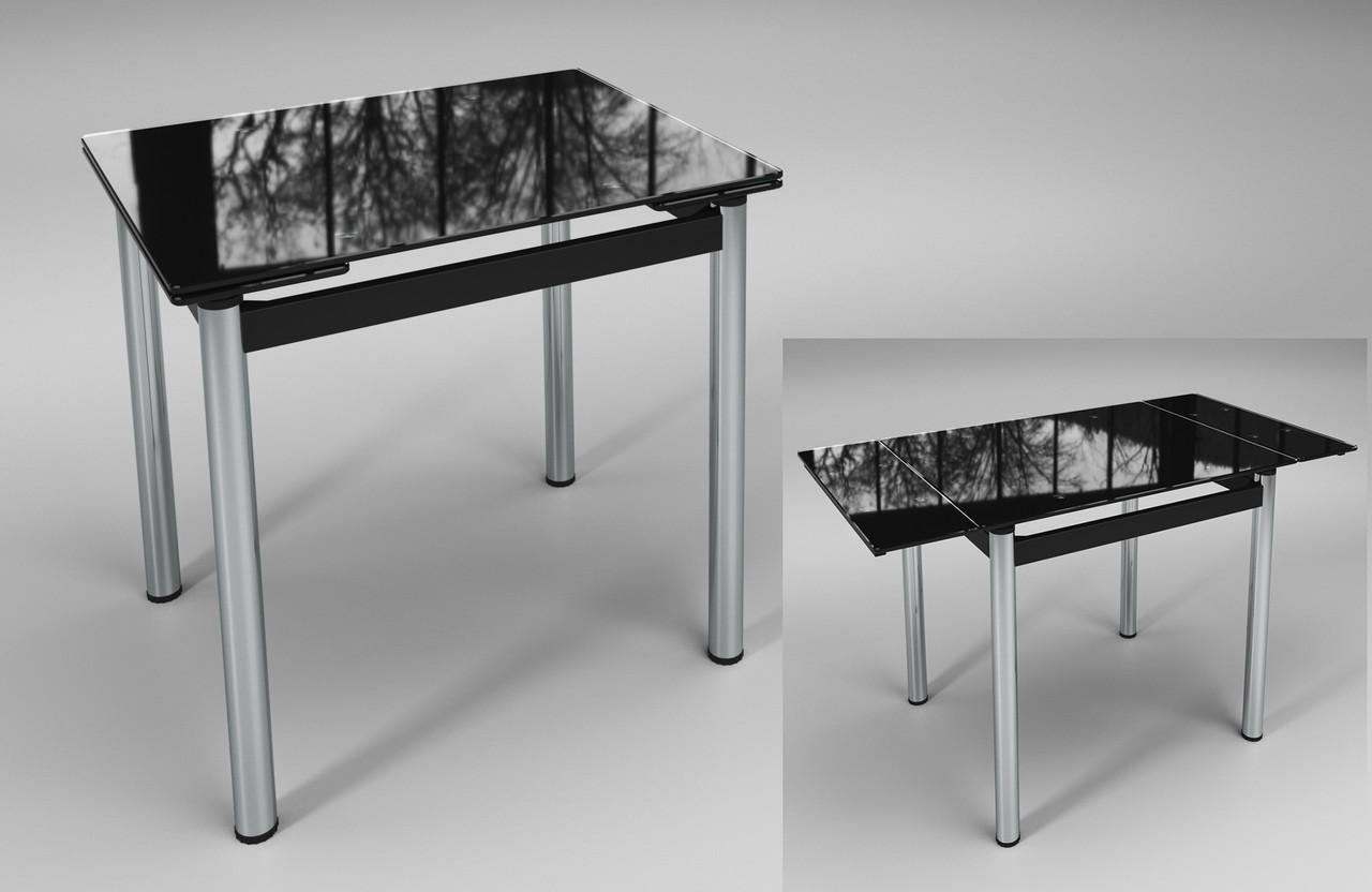 Раскладной стол Ритм черный стеклянный